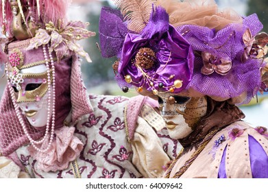 Traditional carnival masks at Annecy festival, France