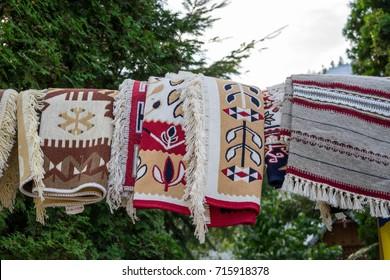Traditional Carpet near Voronet monastery, in Bucovina, Romania