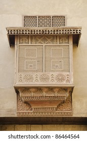 traditional carved wood window in cairo egypt