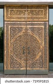 Traditional carved wooden door, Uzbekistan