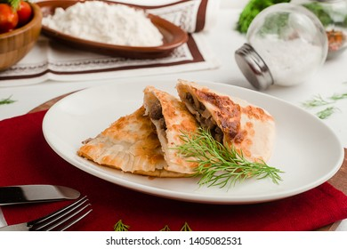 Traditional Caucasian cheburek with meat and dill. Menu for cafe in warm colors.