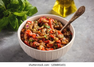 Traditional caucasian salad with grilled vegetables - khorovats.