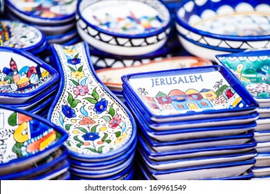 Traditional ceramic in local Israel market.