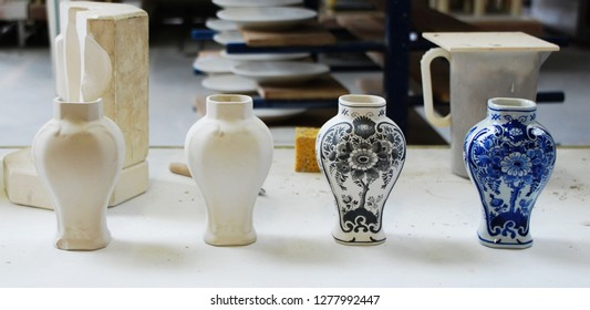 Traditional ceramic vases from Delft the Netherlands