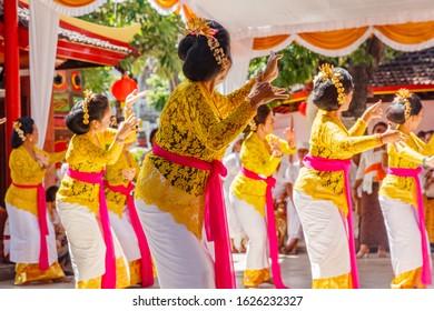 Traditional ceremonial dancing at Vihara Dharmayana - Chinese Buddhist temple (Kongco Kuta or Kongco Leng Gwan Kuta) in Kuta, Bali, Indonesia.