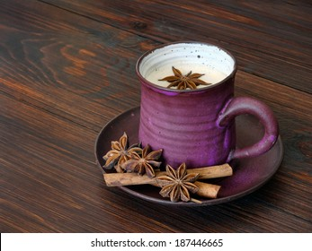 Traditional chai tea with spices and milk