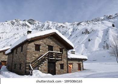 traditional chalet in alpine winter