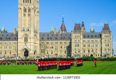 Traditional changing of the guard in the gardens of Parliament Hill, Ottawa, Canada