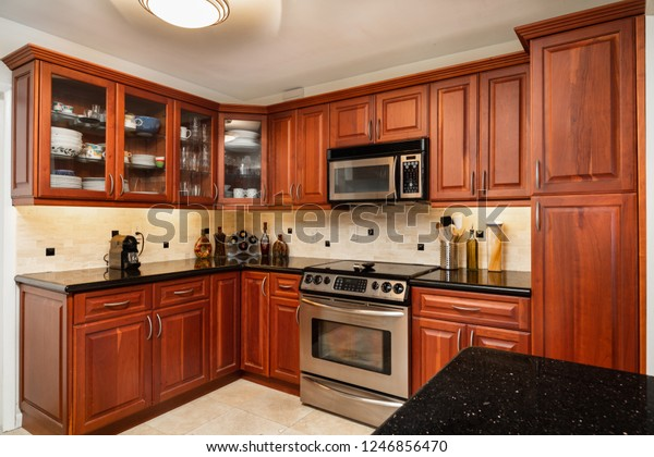 Traditional Cherry Wood Cabinet Home Kitchen | Royalty-Free ...