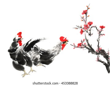 Traditional China Rooster in the town