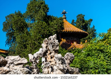 A traditional China royal pavilion in side of the Forbidden City, the main buildings of the former royal palace of Ming dynasty and Qing dynasty in Beijing China.