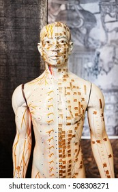Traditional Chinese Acupuncture model with detail on male figure.