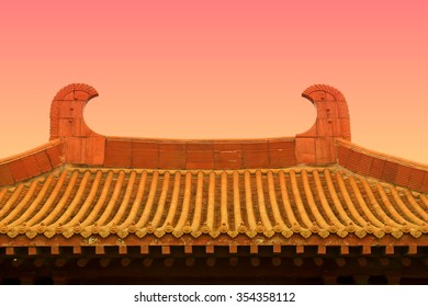 traditional Chinese architectural style yellow glazed tile roof, closeup of photo