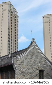 Traditional Chinese Architecture next to Modern Skyscraper Juxtaposition
