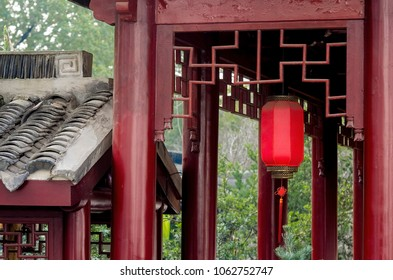 Traditional Chinese architecture. Passage in Shanghai Jiao Tong University, China. March 2018.