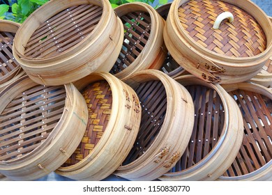Traditional Chinese bamboo steamers used to make dumplings and streamed bread