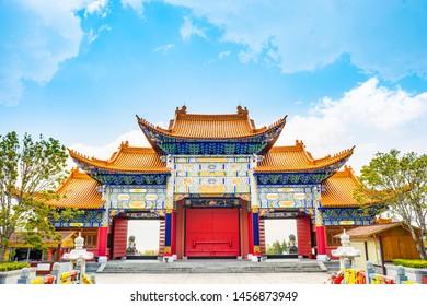 Traditional Chinese building in Chongsheng Temple (Chongsheng Three Pagodas). Located in Dali, Yunnan, China.
