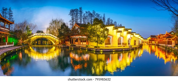 Traditional Chinese building at night. Located in Water street, Nanjing, Jiangsu, China.