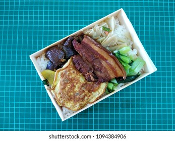 Traditional Chinese cuisine.Soy-stewed pork with rice ,boxed lunch