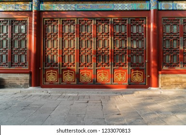 Traditional Chinese doors in The Palace Museum (Forbidden City),Beijing, China