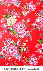Traditional Chinese fabric sample in red and colors