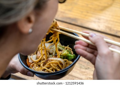 Traditional chinese food noodle served in a bowl