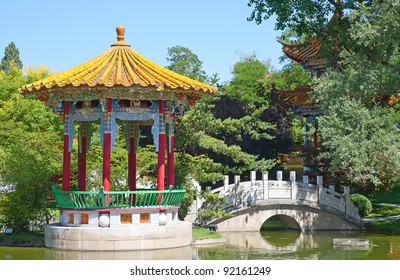 Traditional chinese garden with pond