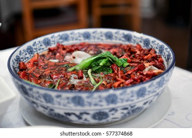 Traditional Chinese hot pot with Szechuan chilli peppers