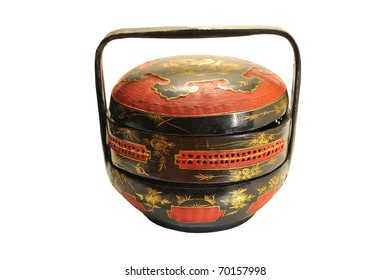 Traditional Chinese Lacquered Bamboo Basket