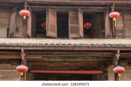 Traditional chinese lanterns decorate Tulou at Unesco heritage site near Xiamen