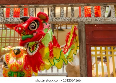 Traditional chinese lion dance head
