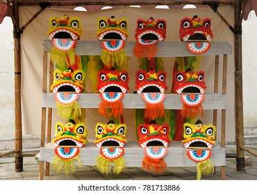 Traditional Chinese mask for sell at street stall in old village.
