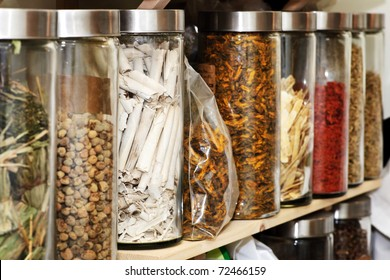 Traditional chinese medicine herbs and remedies in jars