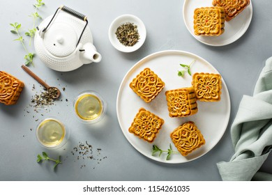 Traditional Chinese mooncakes with lotus, bean paste and egg yolks