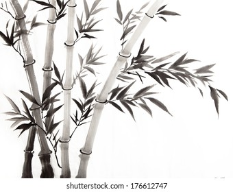 traditional Chinese painting ,bamboo with white and black