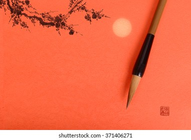Traditional chinese painting Spring plum blossom on red paper background