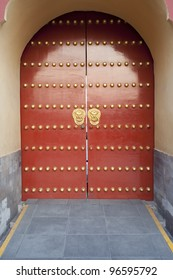 traditional Chinese red door at Temple of Heaven in Beijing which is one of the landmark of Beijing