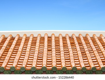 Traditional Chinese Roof with blue sky