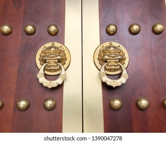 Traditional Chinese style wooden door. Ancient Chinese Door