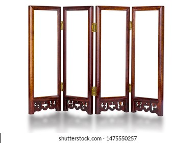 Traditional chinese wooden screen with copy space, isolated on white