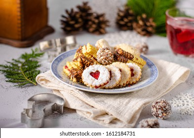 Traditional christmas czech cookies, vintage styled photo