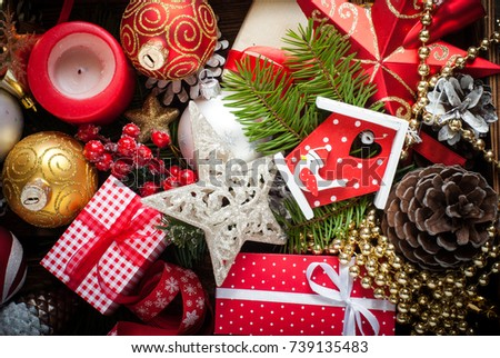 traditional christmas decorations background wooden box with fir tree pine cone balls and - Wooden Box Christmas Decorations