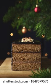 Traditional Christmas gingerbread with chocolate