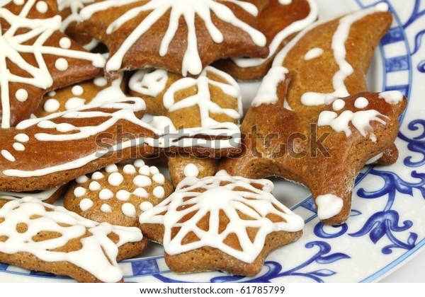 Polish Christmas Cookies.Traditional Christmas Gingerbread Cookies Polish Xmas Stock