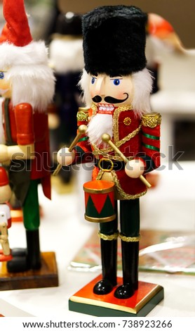 traditional christmas holiday wooden soldier nutcracker close up selective focus christmas toys and - Christmas Decorations Wooden Soldiers