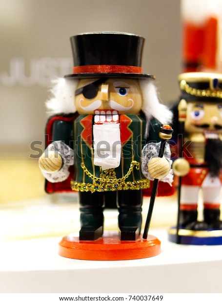 Traditional Christmas Holiday Wooden Soldier Nutcracker Stock Photo