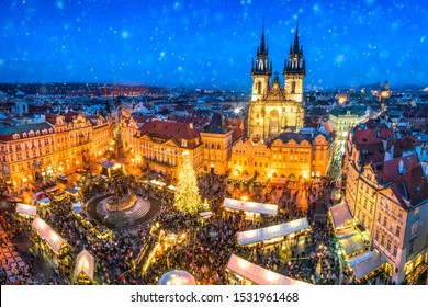 Traditional Christmas market at the old town square in Prague