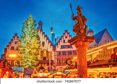 Traditional christmas market on Roemer Platz in Frankfurt, Germany