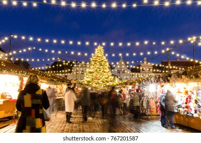 Traditional Christmas Market at Town Hall Square in the Old Town of Tallinn, Estonia. Long time exposure