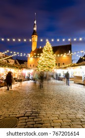 Traditional Christmas Market at Town Hall Square in the Old Town of Tallinn, Estonia.